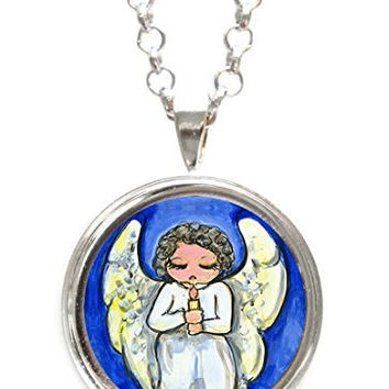 Guardian Angel Protection Silver Pendant with Chain Necklace