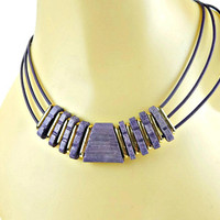 Triple Strand Leather Necklace Purple Wood and Gold Tone Bars Centerpiece