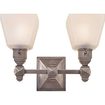 Visual Comfort and Company CHD1542AN-FG Antique Nickel Normandie Faceted Two-Light Fixture