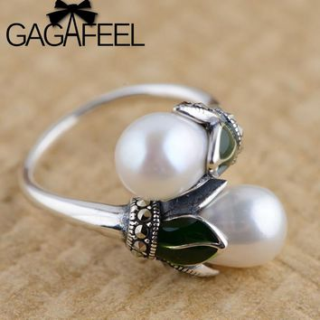 GAGAFEEL Floral Freshwater Pearls Rings Pure 925 Sterling Silver Pearl Wedding Ring For Women Lady Vintage Style Jewelry
