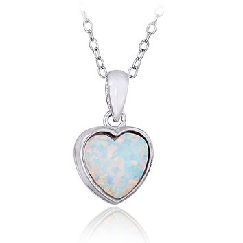Sterling Silver Created White Opal Heart Necklace