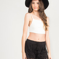 Little Bow Back Cropped Cami - White