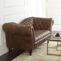 Oak Leather Recamier Sofa - Neiman Marcus