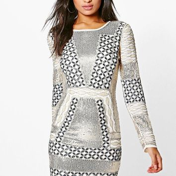Boutique Yasmin Embellished Bodycon Dress | Boohoo