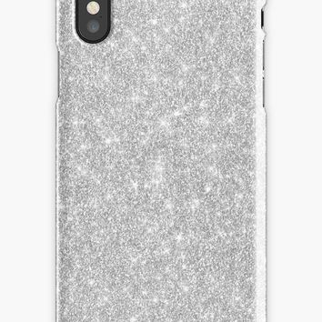 'Bright Shiny Beautiful Elegant Silver Diamond Girly Glitter Pattern ' iPhone Case by Quaintrelle