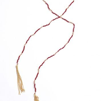 Quick Sand Fringe Necklace Red
