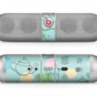The Subtle Blue With Coffee Icon Sketches Skin for the Beats by Dre Pill Bluetooth Speaker