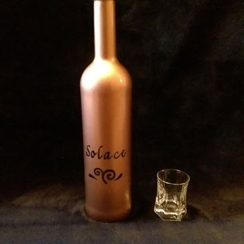 Painted Bottle / Decanter / Decorative Wine Bottle / Fun Home & Bar Decor / Wine/ Liquor Bottles  / Great Gifts - You need a shot of SOLACE!