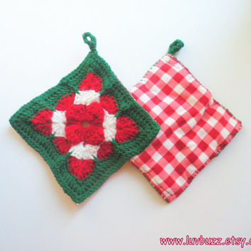 Crochet Christmas Trivets in Red, Green and White Decorative Squares, set of two, granny square hot pads with backing, ready to ship.