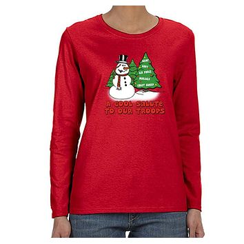 XtraFly Apparel Women's Snowman Salute Our Troops Army Marines Military Ugly Christmas Long Sleeve T-Shirt