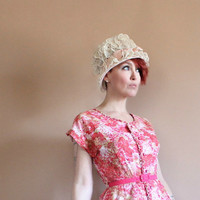 Sheer Pink Mesh Hat Vintage Mid Century Evelyn Varon Exclusive Flowered Net Pillbox Hat