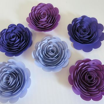 "Shades of Purple Roses Set, 6 big artificial paper flowers, Girl tea party table centerpiece, 3"" rosettes, Twilight birthday theme"