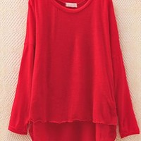 Pure Color Blouse for Women Red TGB653 from topsales