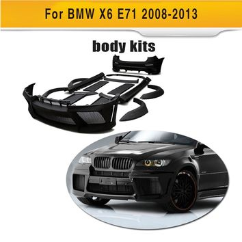 Black Primer FRP Body Kit Kits With Exhaust for BMW X6 E71 SUV 4 Door 2008-2013 xDrive35i xDrive50i Car Accessories