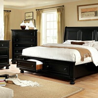 5 pc Castor collection black finish wood w/ drawers in footboard queen bedroom set