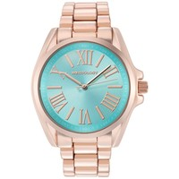 WRISTOLOGY Rachel Womens Super Chunky Rose Gold Blue Face Boyfriend Metal Watch