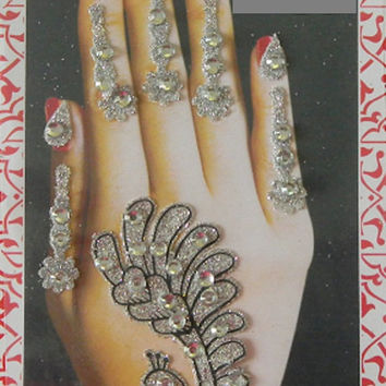 2 Set of Tattoo,Different design silver hand tattoo,Wedding decoration tattoo,emporary festival tattoo,Stick on body jewels,Bollywood tattoo