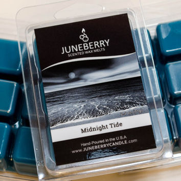 Midnight Tide - Scented Wax Melts - Highly Scented Soy Wax Blend - Six Melts, Tarts, Hand Poured By Juneberry Candle