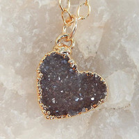 Heart Druzy Necklace 24K Gold Mauve Gray Heart Dainty Small Tiny Quartz Natural Rock Crystal Pendant- Free Shipping OOAK Jewelry