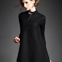 Letter Embroidered Stand Collar Knitted Sleeves Stitching Woolen Mini A-Line Dress