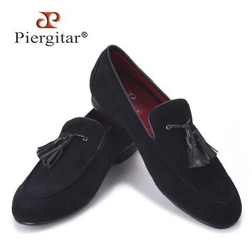 2017 new Cotton Men Shoes With Leather Tassels Handmade Men Loafers Men Wedding and Party Shoe Men Flats Size US 4-17