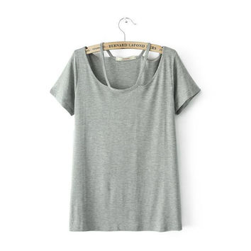 Summer Women's Fashion Slim Short Sleeve Casual T-shirts Stylish Bottoming Shirt [6047709697]