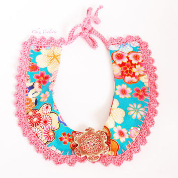 Peter Pan Collar Japanese Fabric Pink cotton Lace Necklace Ceramic Button