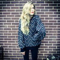Repurposed / Recycled Vintage Hipster Grey Black Chevron Silver Metal Stud Collar Shoulder Oversized Sweater