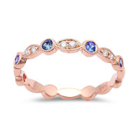 0.32tcw Blue Sapphires & Diamonds in 14K Rose Gold Stackable Band Ring