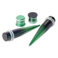 Green Black Ombre Taper And Plug 4 Pack