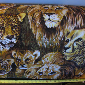 Wall Hanging Fabric Rare Fabric Lion Tiger Designer OOP