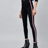 HI-RISE SUPER ELASTIC JEGGINGS WITH SIDE STRIPE DETAILS