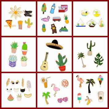 QIHE JEWELRY 3pcs-10pcs/set Cartoon Enamel Pin Set Badge Mexican Cactus Palm Leaves Plant Tree Succulent Potted Flamingo Jewelry