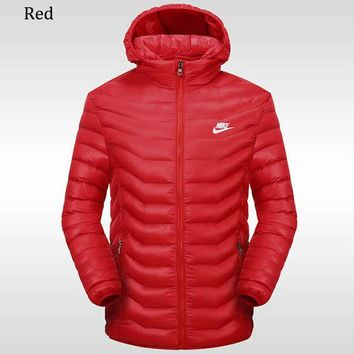 NIKE 2018 winter new sports and leisure detachable hat warm down cotton padded clothes Red