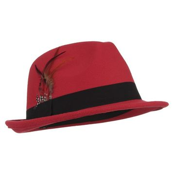 Fedora Trilby Hat - Wool Feather - Black, Red, Navy Blue, fuchsia
