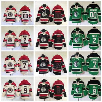 Men Chicago Blackhawks Hoody Ice Hockey 2 Duncan Keith Hoodies Pullover 7 Brent Seabrook 00 Clark Griswold Hooded 9 Bobby Hull Sweatshirts
