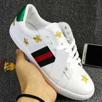 GUCCI Woman Fashion Stars Embroidery Flats Shoes Sneakers Sport Shoes