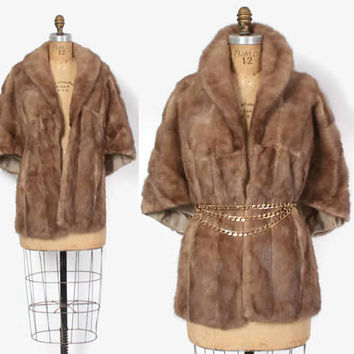 Vintage 50s MINK STOLE / 1950s Autumn Haze Golden Tan Fur Jacket Stole Pop Up Collar