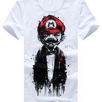 Mario Print Plus Size Short Sleeves T-Shirt