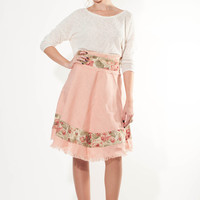 High waist pink skirt, canvas with floral details skirt, pink skirt with roses, a line skirt with belt