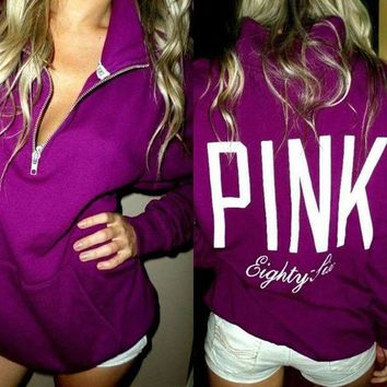 PEAPIH3 PINK' Victoria's Secret Pattern Letter Print Zipper V-Neck Hoodie Top Blouse Sweatshirt Pullover Sweater