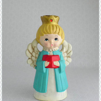Vintage Angel Figure, Ardco Candleholder, Cream Aqua Red, Blonde Singing, Angel Figurine, Taper Candlestick, Retro Holiday Christmas Decor