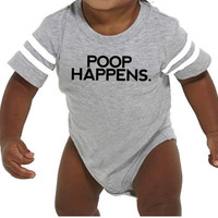 POOP HAPPENS - Infant Football Jersey Bodsuit | Baby Gifts | Spoiled by Nana Shirt | Love my Grandma Onesuits Infant Gifts 6 Month 24 Month