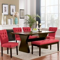 Acme 71515-21-40 6 pc Effie walnut finish wood dining table set with red upholstery