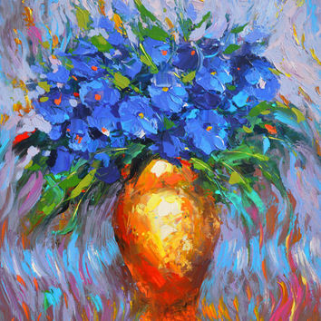 "Flowers in yellow vase -  Flowers Oil Painting on Canvas by Dmitry Spiros. Ready to Hang. Size: 28""x36"""