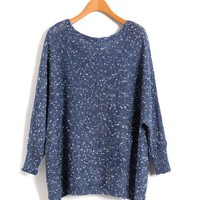 High Low Jumpers with Batwing Sleeves and Wide Neckline in Blue