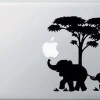 "Mom and Baby Elephant Macbook Sticker Decal Notebook Car Laptop 5"" (Black)"