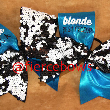 Every Brunette Needs A Blonde Best Friend Cheer Bow Set