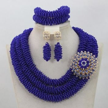 Royal Blue Beads Jewellery Set for Wedding Trendy African Beads Jewelry Set Costume Accessories Neclace Free Shipping WD730