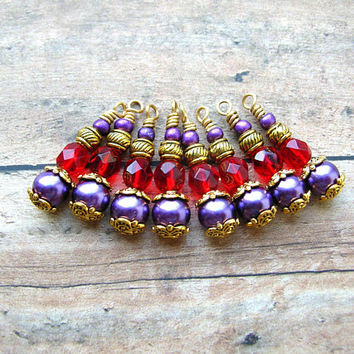 8 Purple and Red Bead Charms, Bead Dangles, Bead Drops